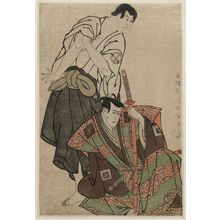 Toshusai Sharaku: Actors Ichikawa Yaozô III as Fuwa Banzaemon and Sakata Hangorô III as Kosodate Kannonbô - Museum of Fine Arts
