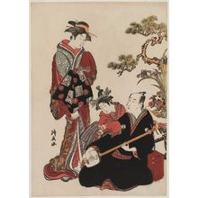 Torii Kiyonaga: Actor Onoe Matsusuke Playing the Shamisen, with a Courtesan and a Kamuro - Museum of Fine Arts