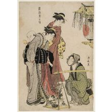 Torii Kiyonaga: Women Buying Potted Plants from a Street Vendor, from the series Current Manners in Eastern Brocade (Fûzoku Azuma no nishiki) - Museum of Fine Arts
