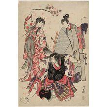 鳥居清長: Actors Ichikawa Monnosuke II as Yoshimine no Munesada, Nakamura Nakazô as Sekibei, actually Ôtomo no Kuronushi, and Segawa Kikunojô III as Sumizome - ボストン美術館