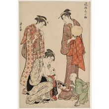 Torii Kiyonaga: New Year Hobbyhorse (Harukoma), from the series Three Fashionable Horses (Fûryû mitsu no koma) - Museum of Fine Arts