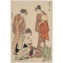 鳥居清長: New Year Hobbyhorse (Harukoma), from the series Three Fashionable Horses (Fûryû mitsu no koma) - ボストン美術館
