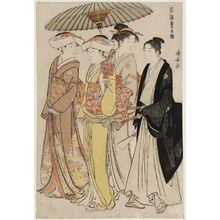 鳥居清長: Lady with Three Attendants, from the series Current Manners in Eastern Brocade (Fûzoku Azuma no nishiki) - ボストン美術館
