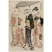 鳥居清長: Young Girl and Four Attendants, from the series Current Manners in Eastern Brocade (Fûzoku Azuma no nishiki) - ボストン美術館