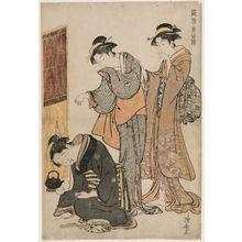 鳥居清長: Two Women and a Dozing Maid, from the series Current Manners in Eastern Brocade (Fûzoku Azuma no nishiki) - ボストン美術館