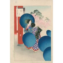 Mizuno Toshikata: Cherry-blossom Viewing: Women of the Bunsei Era [1818-30] (Hanami, Bunsei koro fujin), from the series Thirty-six Elegant Selections (Sanjûroku kasen) - Museum of Fine Arts
