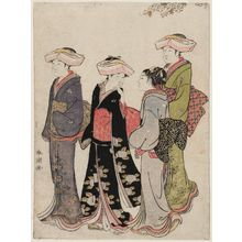 勝川春潮: Three Women and a Maid Under a Cherry Tree - ボストン美術館