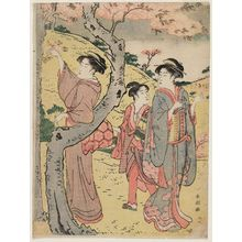 Katsukawa Shuncho: Cherry Blossom Viewing at Asuka Hill - Museum of Fine Arts
