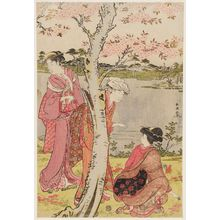 勝川春潮: Gathering Spring Flowers by the Pond of the Twelve Kumano Shrines at Tsunohazu - ボストン美術館