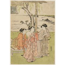 Katsukawa Shuncho: Watching a Festival from an Outdoor Tea Stall with a View of the Bay - Museum of Fine Arts