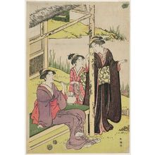 Katsukawa Shuncho: Women at a Tea House by an Iris Pond - Museum of Fine Arts