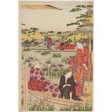 Katsukawa Shuncho: Iris Garden - Museum of Fine Arts
