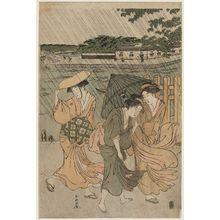 勝川春潮: Women in an Evening Shower - ボストン美術館