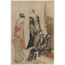 Katsukawa Shuncho: Actors Onoe Matsusuke and Ichikawa Omezô at a Teahouse - Museum of Fine Arts