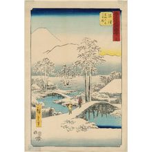 Utagawa Hiroshige: No. 13, Numazu: Fuji in Clear Weather after Snow, from the Ashigara Mountains (Numazu, Ashigarayama Fuji no yukibare), from the series Famous Sights of the Fifty-three Stations (Gojûsan tsugi meisho zue), also known as the Vertical Tôkaidô - Museum of Fine Arts