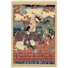二代歌川国貞: No. 7, Momiji no ga, from the series Lady Murasaki's Genji Cards (Murasaki Shikibu Genji karuta) - ボストン美術館