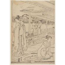 勝川春山: On the Veranda of a Mansion - ボストン美術館