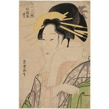 Rekisentei Eiri: Morokoshi of the Echizenya, from the series Contest of Beauties of the Pleasure Quarters (Kakuchû bijin kurabe) - Museum of Fine Arts