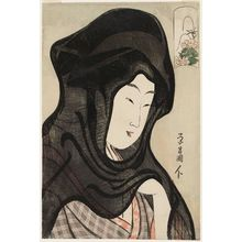 鳥高斎栄昌: Peony: Woman in a Black Gauze Hood, from an untitled series of beauties compared to flowers - ボストン美術館