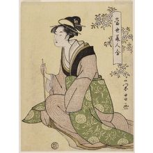 Chokosai Eisho: Woman Holding a Pipe, from the series Comparisons of Modern Beauties (Tôsei bijin awase) - Museum of Fine Arts