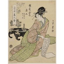 Chokosai Eisho: Morokoshi of the Echizenya, kamuro Ayano and Orino, from the series Comparisons of Modern Beauties (Tôsei bijin awase) - Museum of Fine Arts