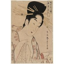 鳥高斎栄昌: Hanabito of the Ôgiya, from the series Contest of Beauties of the Pleasure Quarters (Kakuchû bijin kurabe) - ボストン美術館