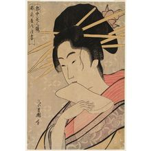 鳥高斎栄昌: Asazuma of the Echizen-ya, from the series Contest of Beauties of the Pleasure Quarters (Kakuchû bijin kurabe) - ボストン美術館
