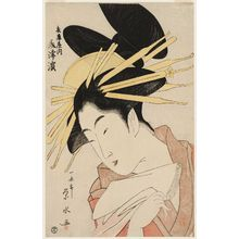 一楽亭栄水: Mitsuhama of the Hyôgoya, from an untitled series of large heads of courtesans - ボストン美術館