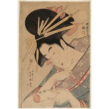 一楽亭栄水: Segawa of the Matsubaya, from an untitled series of large heads of courtesans - ボストン美術館