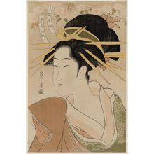 Hosoda Eishi: Senzan of the Chôjiya, representing Mountain Cherry (Chôjiya Senzan, mitate yamazakura), from a series of courtesans compared to varieties of cherry - Museum of Fine Arts