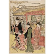 Hosoda Eishi: Women at Shops near Sensô-ji Temple in Asakusa - Museum of Fine Arts