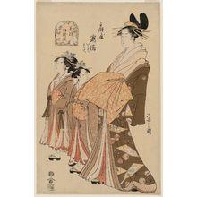 細田栄之: Takihashi of the Ôgiya, kamuro Iwate and Tamote, from the series New Year Designs as Fresh as Young Leaves (Wakana hatsu moyô) - ボストン美術館