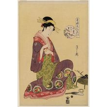 Hosoda Eishi: Konosato of the Takeya, from the series Beauties of the Yoshiwara as Six Floral Immortals (Seirô bijin Rokkasen) - Museum of Fine Arts