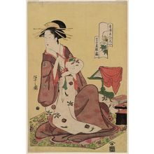 細田栄之: Hinazuru of the Chôjiya, from the series Beauties of the Yoshiwara as Six Floral Immortals (Seirô bijin Rokkasen) - ボストン美術館