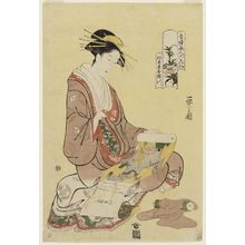 細田栄之: Kisegawa of the Matsubaya, from the series Beauties of the Yoshiwara as Six Floral Immortals (Seirô bijin Rokkasen) - ボストン美術館