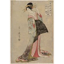 Hosoda Eishi: Takigawa of the Ôgiya, at the First Sale of the New Year Celebration in the Parlor (Hatsu-uri zashiki no zu), from the series A Comparison of Selected Beauties of the Pleasure Quarters (Seirô bisen awase) - Museum of Fine Arts