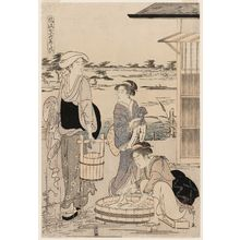 Hosoda Eishi: Washing (Arai), from the series Fashionable Versions of the Seven Komachi (Fûryû nana Komachi) - Museum of Fine Arts