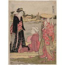 細田栄之: Women in a Ferry Boat, from the series Eight Layers of Brocade in the Capital (Miyako yae no nishiki) - ボストン美術館