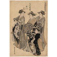 細田栄之: Segawa of the Matsubaya, kamuro Sasano and Takeno, from the series Edo Purple in the Pleasure Quarters (Seirô Edo Murasaki) - ボストン美術館