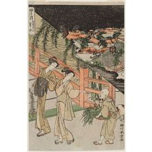 Katsukawa Shunsho: The Seventh Month: The Star Festival, Buying Flowers for the Obon Festival (Fumitsuki, Tanabata, Kusaichi), from an untitled series of Day and Night Scenes of the Twelve Months - Museum of Fine Arts