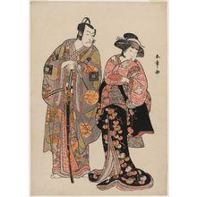 勝川春章: Actors Yamashita Kinsaku II as Manko Gozen and Ichikawa Danjûrô V as Kudô Suketsune - ボストン美術館
