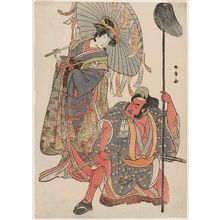 Katsukawa Shunsho: Actors Ichimura Uzaemon IX as Hata no Daizen Taketora disguised as the yakko Matahei (R), and Iwai Hanshirô IV as Umegae disguised as the poem-diviner Omatsu (L) - Museum of Fine Arts