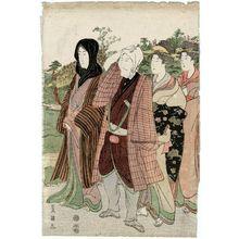 歌川豊国: Actor and women walking - ボストン美術館