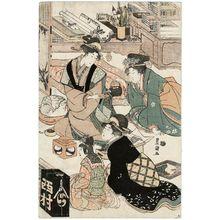 歌川豊国: First Calligraphy Class of the New Year at a Fashionable School (Fûryû terako kissho hajime keiko no zu) - ボストン美術館