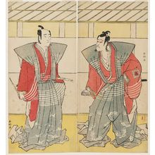 勝川春好: Actors Ichikawa Saizô as Soga no Jûrô (L) and Ichikawa Komazô as Soga no Gorô (R) - ボストン美術館