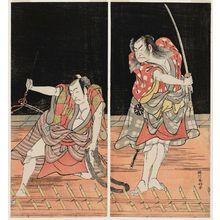 勝川春好: Actors Nakamura Nakazô as Danshichi Kurobei (R) and Ichikawa Danjûrô V as Issun Tokubei (L) - ボストン美術館