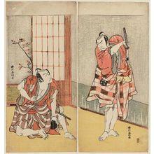 勝川春好: Actors Nakamura Nakazô (R) and Ichikawa Danjûrô V (L) - ボストン美術館