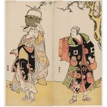 勝川春好: Actors Ichikawa Danjûrô V (R) and Ichikawa Yaozô as Shiragiku (L) - ボストン美術館