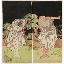 Katsukawa Shunko: Actor Sakata Hangorô (R) and Ichikawa Yaozô (L) - Museum of Fine Arts