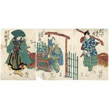 Utagawa Kuniyoshi: Actors Ichikawa Ebizô (R), Onoe Kikugorô (C), Ichikawa Uzaemon (L) - Museum of Fine Arts